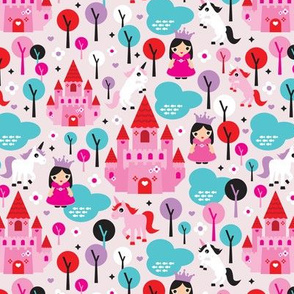 Unicorn princess and castle fantasy dreams pink illustration pattern