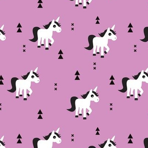 Geometric unicorn fantasy kids illustration with arrows in violet