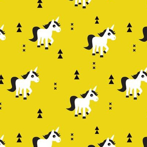 Geometric unicorn fantasy kids illustration with arrows in mustard yellow
