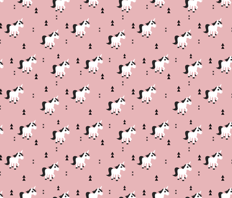 Geometric unicorn fantasy kids illustration with arrows in pink pastel fabric by littlesmilemakers on Spoonflower - custom fabric