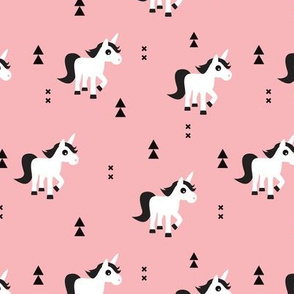 Geometric unicorn fantasy kids illustration with arrows in pink pastel