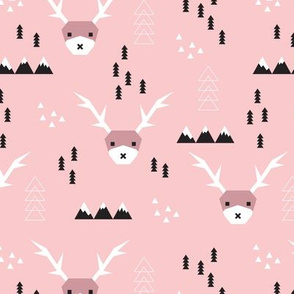 Scandinavian style reindeer winter winderland with pine trees and mountain woodland snow abstract illustration pink