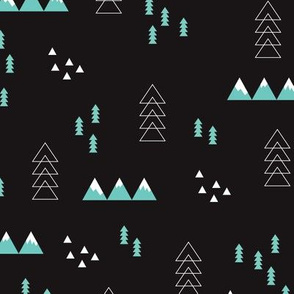 Dark night scandinavian style winter winderland with pine trees and mountain woodland snow abstract illustration
