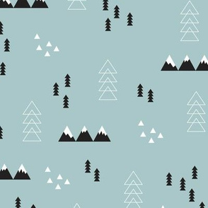 Scandinavian style winter winderland with pine trees and mountain woodland snow abstract illustration