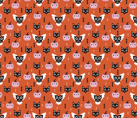 Cute halloween pumpkin black cat and spooky owl geometric design kids pattern fabric by littlesmilemakers on Spoonflower - custom fabric