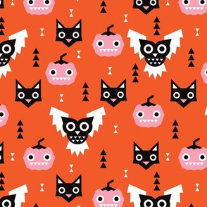 Cute halloween pumpkin black cat and spooky owl geometric design kids pattern