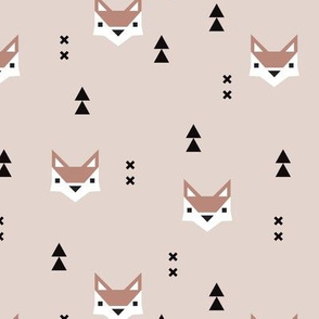 Cute geometric fox illustration scandinavian style fall pattern design in pastel beige