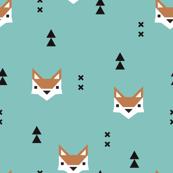Cute geometric fox illustration scandinavian style fall pattern design in blue
