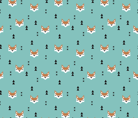Cute geometric fox illustration scandinavian style fall pattern cute geometric fox illustration scandinavian style fall pattern design in blue fabric by littlesmilemakers on spoonflower voltagebd Gallery