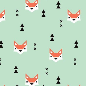 Cute geometric fox illustration scandinavian style fall pattern design in mint