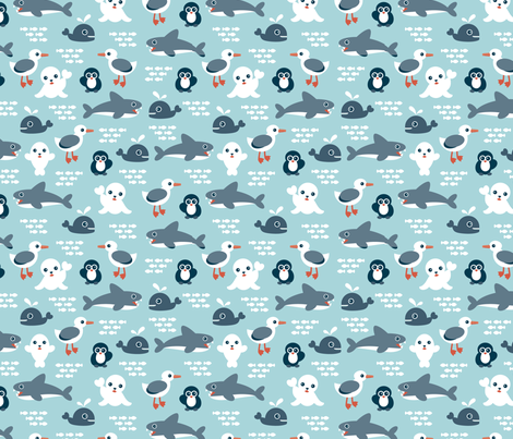 Sea life animals seal whale shark penguin and albatross for Animal print fabric for kids