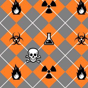 Hazard Argyle in Orange and Grey