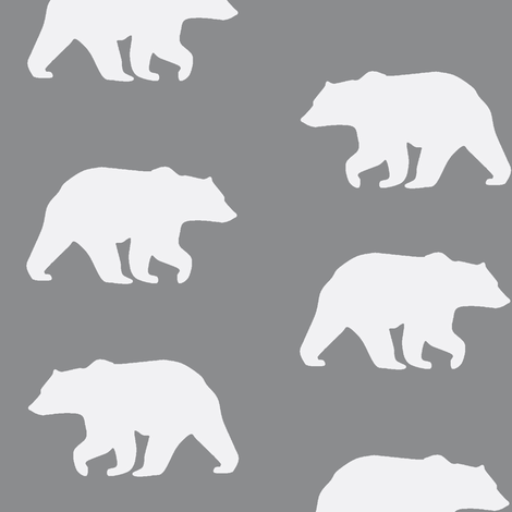Bear Hike // Gray 2 fabric by buckwoodsdesignco on Spoonflower - custom fabric