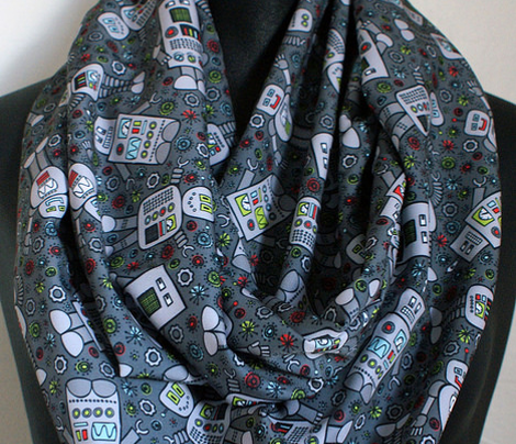 Retro Robot Scatter (Dark Gray)