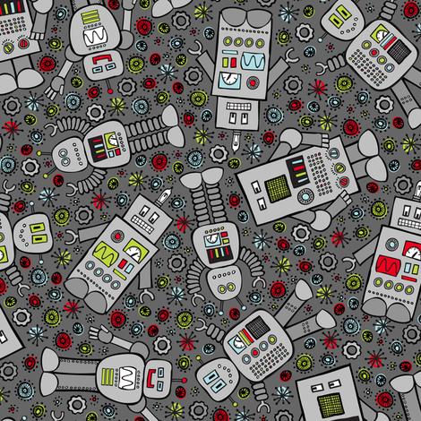 Retro Robot Scatter (Dark Gray) fabric by robyriker on Spoonflower - custom fabric