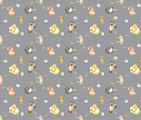 Random Cats  Grey fabric by dreamoutloudart on Spoonflower - custom fabric