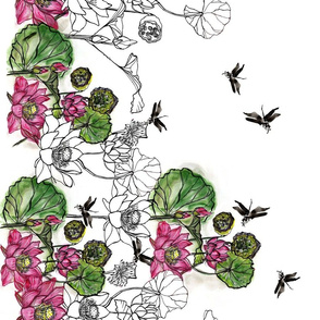 Dragonflies in Lotus Garden Border Print
