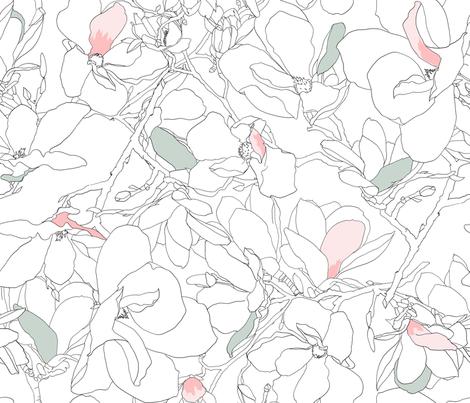 Magnolia Sketch fabric by j___ on Spoonflower - custom fabric