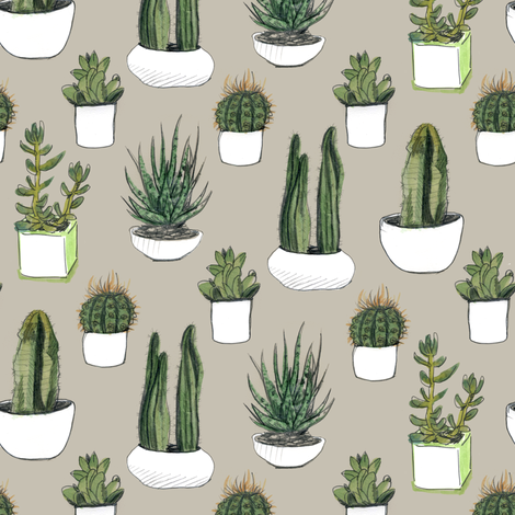 Watercolor Cacti & Succulents on Beige fabric by crumpetsandcrabsticks on Spoonflower - custom fabric