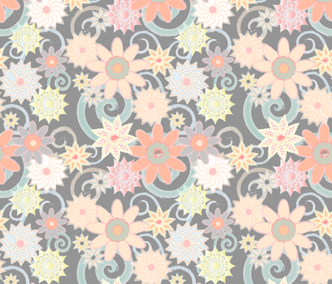 Floral Watercolor Strokes, Gray fabric by pearl&phire on Spoonflower - custom fabric