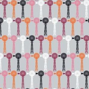 Hollyhock Windmills - Gray