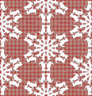 White Scottie Snowflakes on plaid