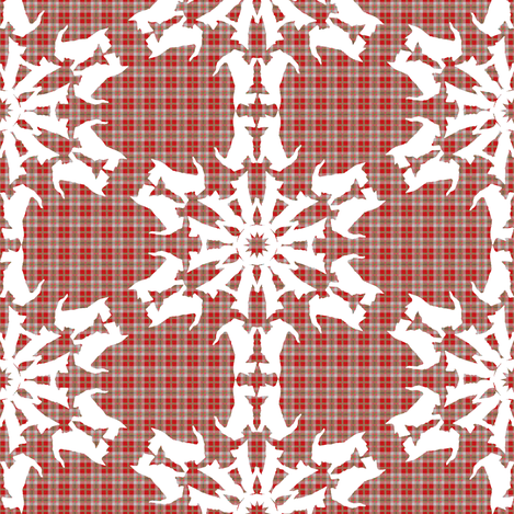 White Scottie Snowflakes on plaid fabric by eclectic_house on Spoonflower - custom fabric