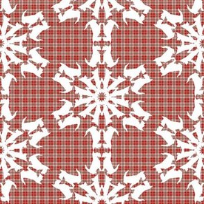 White Scottie Snowflakes on plaid