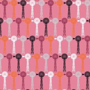 Hollyhock Windmills - Pink