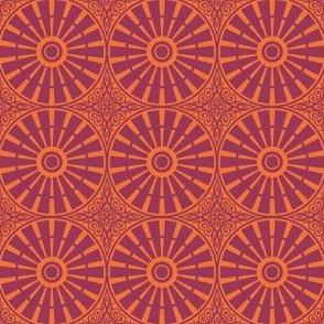Hollyhock Windmill Wheels - Flame