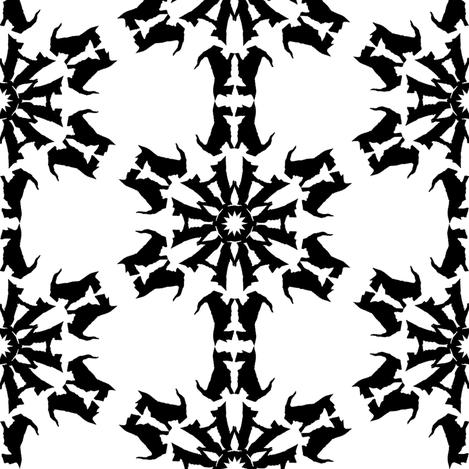 Black Scottie Snowflakes fabric by eclectic_house on Spoonflower - custom fabric