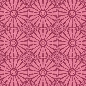 Hollyhock Windmill Wheels - Rose