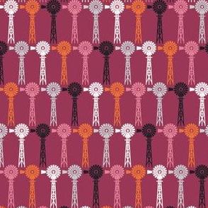 Hollyhock Windmills - Cherry
