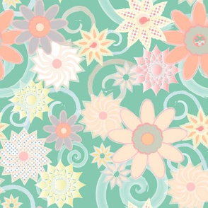 Floral Watercolor Strokes, Green Jade