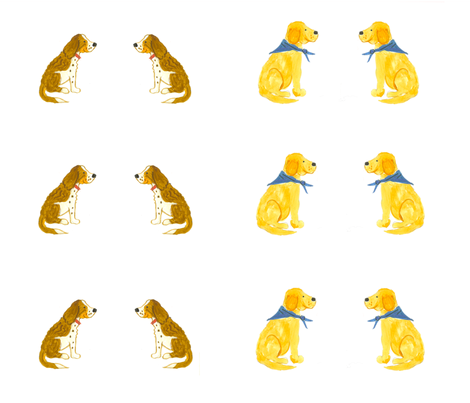 Paired_Springers_and_Golden_Retrievers fabric by sleepingdogquilts on Spoonflower - custom fabric