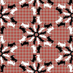 Black and White Scottie Snowflakes on Plaid