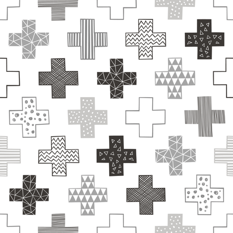 Crosses Plus Sign Black&White and Grey fabric by caja_design on Spoonflower - custom fabric
