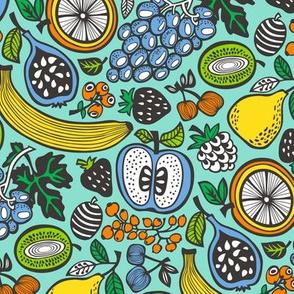 Fruit Cocktail Mint Background