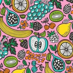 Fruit Cocktail Pink Background