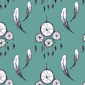 Dream Catcher and Feathers - Teal Background