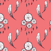 Dream Catcher and Feathers - Pink Background