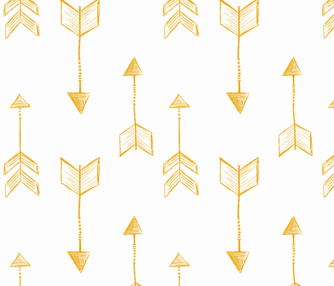 Arrow Sketch Mustard Yellow fabric by averielaneboutique on Spoonflower - custom fabric