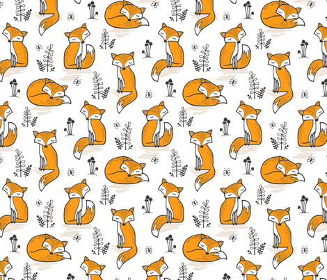 Dreamy Fox in Orange  fabric by caja_design on Spoonflower - custom fabric
