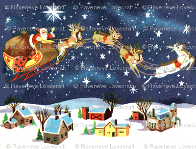 Merry Christmas snow winter stars night houses towns trees sleigh gifts presents reindeer vintage retro kitsch seamless