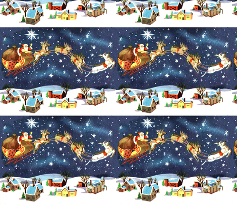 Merry Christmas snow winter stars night houses towns trees sleigh gifts presents reindeer vintage retro kitsch seamless fabric by raveneve on Spoonflower - custom fabric
