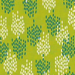 Abstract Scales on Faux Linen- Green