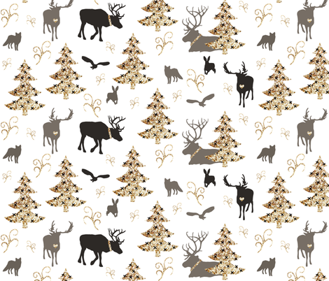 winter woodland gold brown  fabric by miamea on Spoonflower - custom fabric