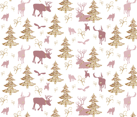 winter woodland gold pink fabric by miamea on Spoonflower - custom fabric