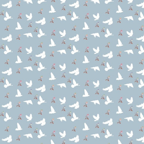 Doves in Flight, Desert Meadow Floral for Desert Meadow Collection