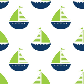 Sailboats Lime Navy